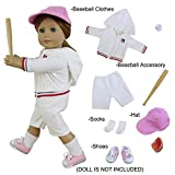 Baseball Sport Look Doll Outfits Set of 5 for 18 inch American Girl Doll Clothes - 1xBaseball Clothes+ 1xBaseball Accessory+ 1xShoes+ 1xSocks+ 1xHat