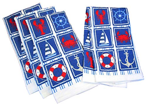 Summertime Nautical 100% Cotton Dish Towels - Set of 4 (Cape Cod Icons - Lobster, Crab, Sailboat, Anchor, Ships's Wheel, Life Ring)