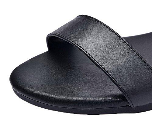 Pu Puntera Vestir Mini Sólido Sandalias Negro Abierta Mujeres Aalardom Tacón De 6AS44q