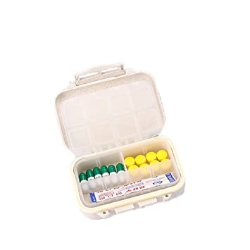AZBYC Medicina Portátil Caja Pastillero Semanal con 8 Compartimentos Dispensador Holder Mini Caja De Pastillas, Beige Rosa: Amazon.es: Hogar