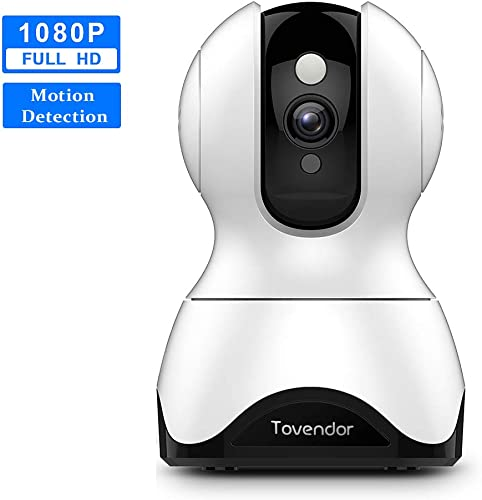 Tovendor Home Video Security Camera 1080P, PTZ WiFi Sound and Motion Detection Pet Dog Camera with Two-Way Audio, Night Vision Up to 32 Feet