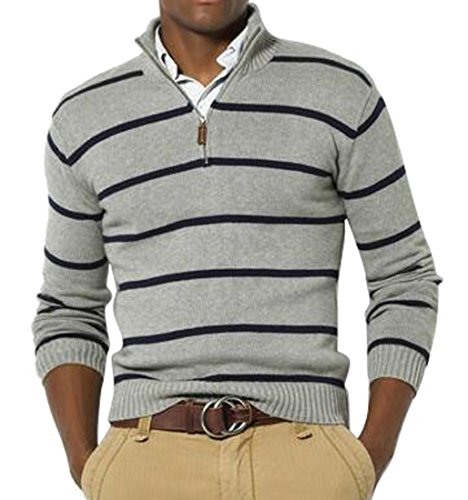 Mstyle Mens Slim Fit Half-Zip Stripe Casual Knit Pullover Sweater Light Grey L