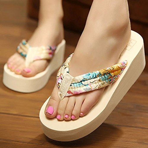 Women's Summer Flip Creative Flops Fashion Heel High Gold TBOqTS