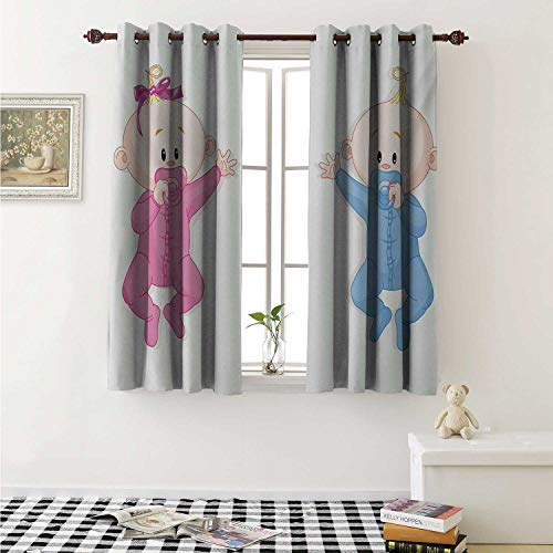 shenglv Gender Reveal Blackout Draperies for Bedroom Babies Lie and Keep The Pacifiers Lovely Toddlers Sweet Childhood Curtains Kitchen Valance W72 x L63 Inch Pink Blue and Peach