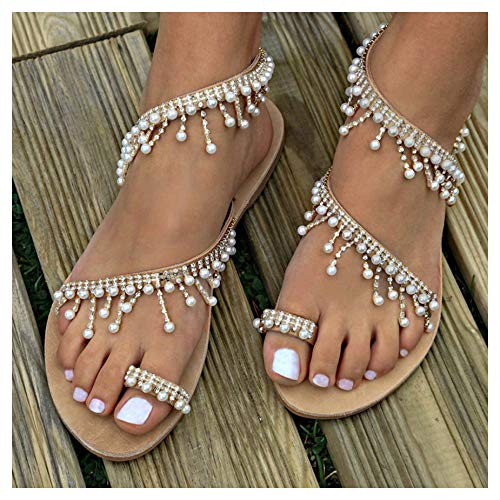 Womens Summer Bohemia Flat Sandals Beads Pearl Beach Clip Toe Flip Flops Flat Bottom Sandals Shoes (38, Brown) ()