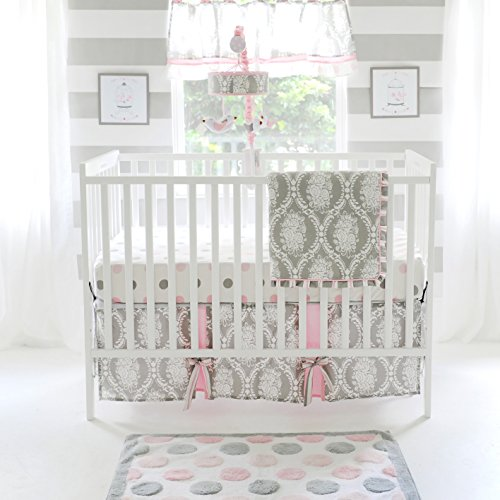 (My Baby Sam Olivia Rose 3 Piece Crib Bedding Set, Pink/Gray)