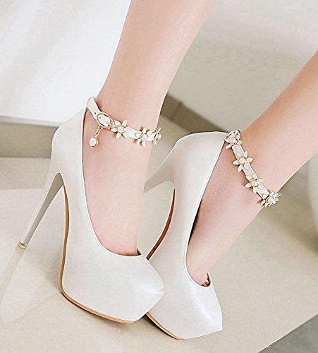 Escarpins Plateforme Soirée Blanc Aisun Chic Fleurs Femme Elégant xqw7O1ZPY
