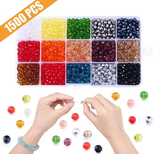 6mm Glass Beads for Jewelry Making, Lucky Goddness 1500pcs Round Faceted Shape Colourful Briolette Crystal Spacer Beads Assortments Supplies for Making Handcrafts, DIY Bracelets Necklaces -