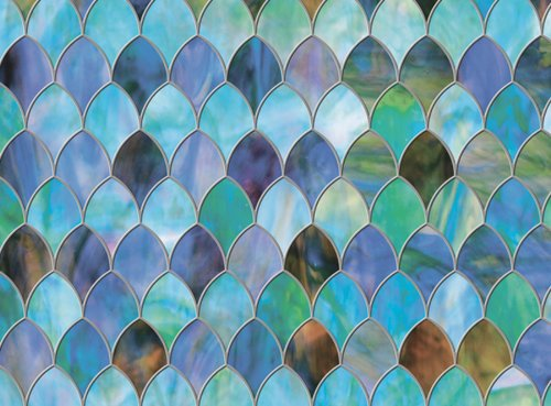 Brewster PF0710 Peacock Premium Privacy Film Sidelight (Stained Glass Film)