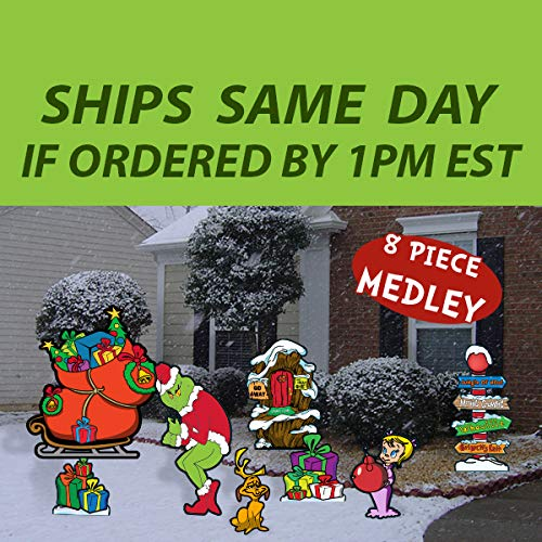 GGS 8 Piece Grinch's Merry Medley Collection Yard Art