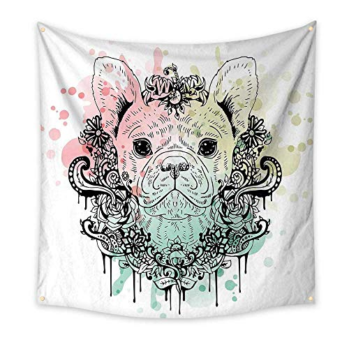 Animal Bedroom Tapestry French Bulldog with Floral Wreath on Brushstroke Watercolor Print Room Tapestry Mint Light Pink Pale Green 55W x 55L Inch