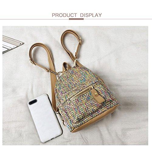 Female New Small Woven Hit purpose Godea Fashion Gold Color Bag Backpack 18 Grass Mini Shoulder Multi B04x5Hwqx