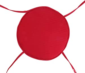 Round Solid Color Washable Cushion Chair Pads,Garden Patio Office Chair Indoor Outdoor Dining Seat Pads Chair Cushion Cover(Red 38x38cm)