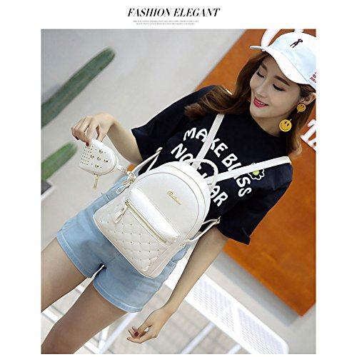 for Lady Retro Teenage Women's white Backpacks Bag Small SODIAL Bag PU White Backpack School Women's Leather Bags HgzqWx5CWw