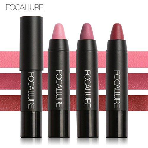 Fheaven 3Piece /Set FOCALLURE Long-lasting Red Velvet Matte Pencil Lipstick Crayon Makeup (A)
