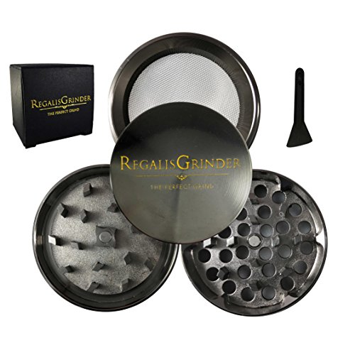 2' Magnetic Catch - Regalis Premium Herb Weed Grinder, Grinder for weed with Keef Catcher [Exclusive] 2'' (50mm) - Crown Series- (Chrome/Piano Black)