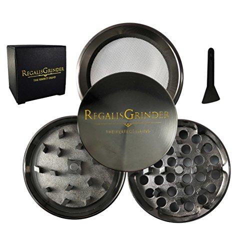 Regalis Premium Herb Weed Grinder  Grinder For Weed With Keef Catcher  Exclusive  2  50Mm    Crown Series   Chrome Piano Black