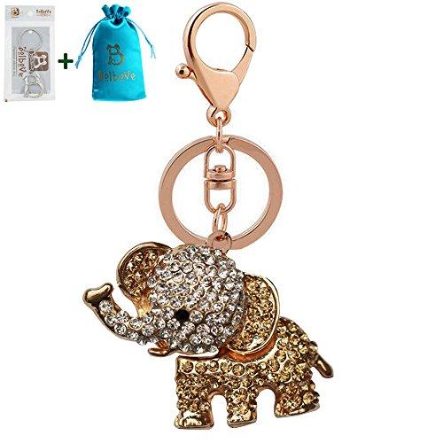 Bolbove Cute Big Ears Elephant Keychain Sparkling Keyring Crystal Purse Pendant Rhinestones Handbag Charm (Gold)
