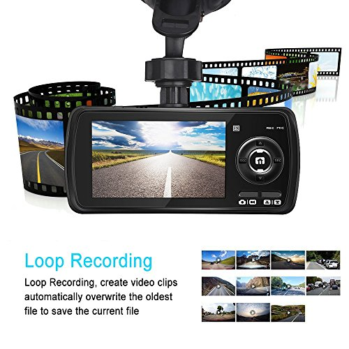 Dash Cam,AuKing 2.7'' LCD Full HD 1080P in Car Cam DVR Dashboard, Video Recorder, with G-Sensor, Automatic Loop Recording, WDR, Parking Monitoring,Motion Detection by AuKing (Image #2)