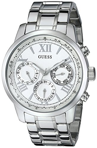 GUESS  Classic Silver-Tone Stainless Steel Bracelet Watch with Day, Date + 24 Hour Military/Int'l Time. Color: Silver-Tone (Model: ()