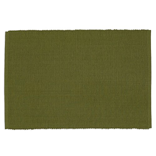 DII Washable Ribbed Cotton Placemat, Set of 6, Vine Green - Perfect for Spring, Summer, Dinner Parties, BBQs, Weddings and Everyday Use, 13x19,