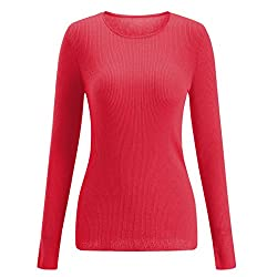 Sseary Women Crewneck Basic Lightweight Cozy Cashmere Knit Pullover Sweater Red M
