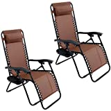 GHP Set of 2 Outdoor Beach Patio 300LBS Capacity Brown Zero Gravity Lounge Recliner Chairs