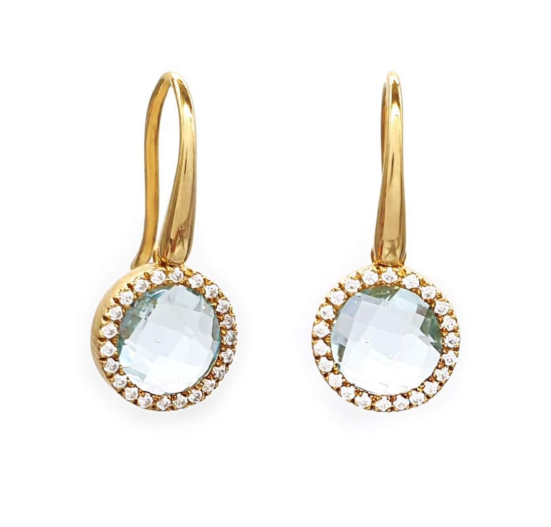 Amazon Com Elegant Jewel Box Drop Diamond Earrings With Gemstones For Woman Solid Gold Dangle Earrings In 9k 14k K18 Unique Diamond Earrings For Her Anniversary Gift Wedding Jewelry Handmade