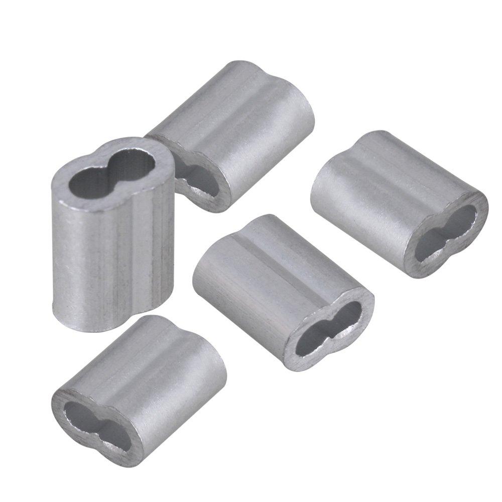 200 St/ück M2 Doppelh/ülsen Aluminium Crimping Schlaufenh/ülse f/ür Drahtseile 2mm Silber Drahtseilh/ülsen-Clip