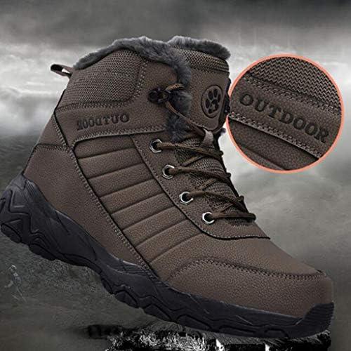 男性の滑り止め人工PUレザーのための雪のブーツは、耐久性に優れた防雨カジュアルショートアンクルブーツ黒のためのアウトドアシューズをバックパッキング (色 : 褐色, サイズ : 25 CM)
