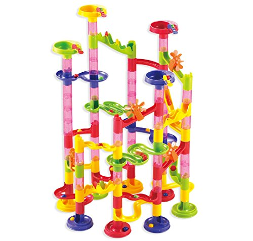 Marble Run Coaster 105 Piece Set with 75 Building Blocks+30 Plastic Race Marbles. Learning Railway Construction
