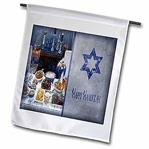 Susan Brown Designs Hanukkah - Holiday Themes - Hanukkah Feast - 12 x 18 inch Garden Flag (fl_36503_1)
