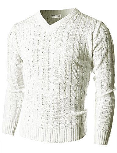 Ohoo Mens Slim Fit Cable Knit Long Sleeve V-Neck Pullover (Long Sleeve Pullover Knit)