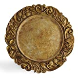 ChargeIt by Jay Elegant Rim Round Charger Plate, 14-Inch, Gold