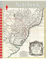 Notebook: 1771, Bonne Map of Paraguay, Uruguay, and Brazil, Rigobert Bonne 1727 – 1794, one of the most important cartographers of the late 18th century