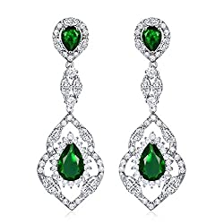 Silver Tone With Green Stone Chandelier Earring