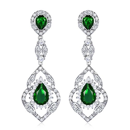 SELOVO Silver Tone Vintage Teardrop Chandelier Dangle Earrings with Green Cubic Zirconia Emerald Color