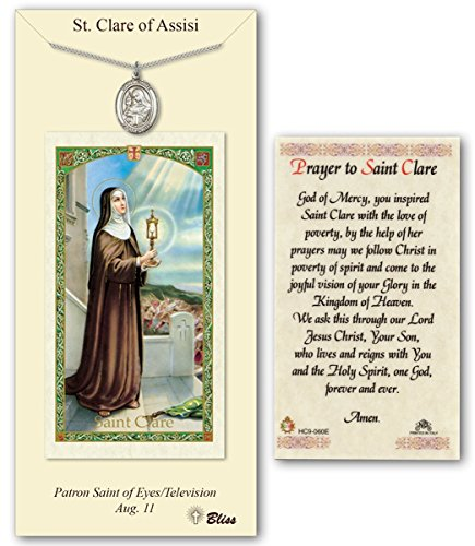 (Pewter Saint Clare of Assisi Medal with Laminated Holy Prayer Card)