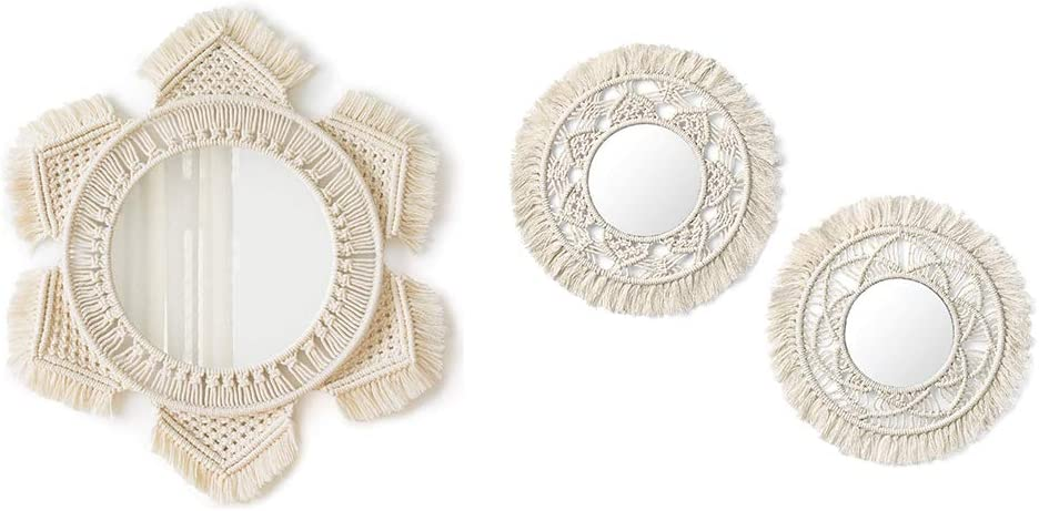 Mkono Hanging Wall Mirror with Macrame Fringe Round Boho Mirror Art Decor for Apartment Living Room Bedroom Baby Nursery Dorm Entryways, Set of 3