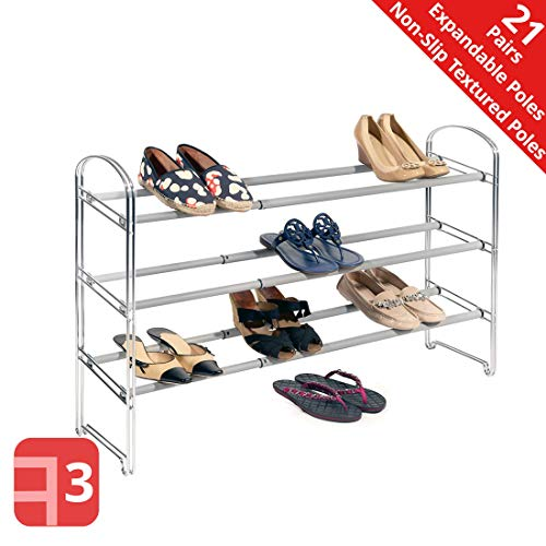 Seville Classics 3-Tier Expandable Shoe Rack, Chrome (Closet For Shoes Rack)