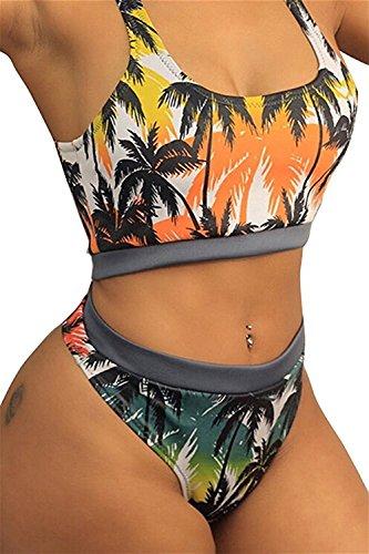 Shilian Clothing Comfortable Women's High Waist Criss Cross No Support Bikini Set...