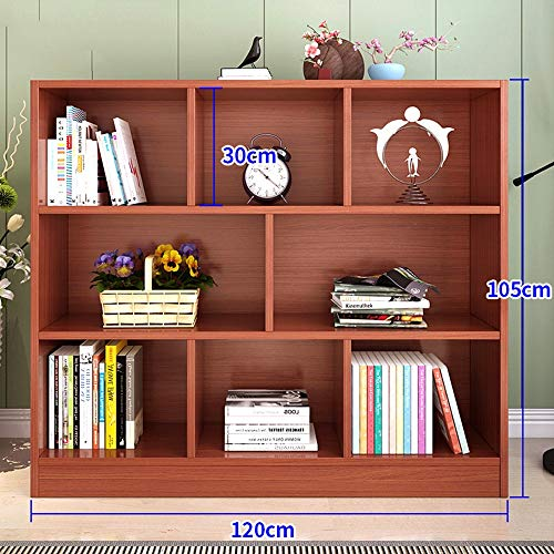 HUO, 8 Shelf Bookshelf Storage Shelf Wooden Bookcase Bookcase Living Room Storage Floor Children's Cabinet Bookcases (Color : Teak) (Teak Bookcase Cabinet)