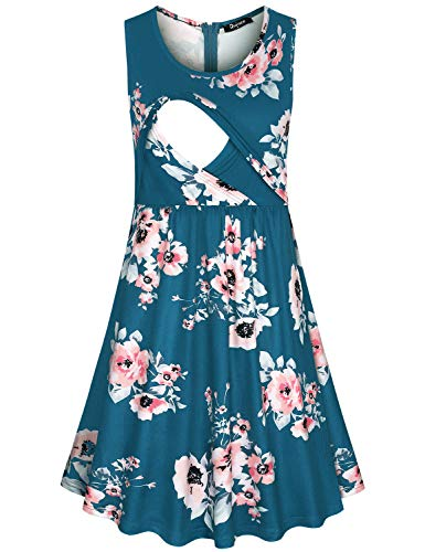 Quinee Delivery Gown, Womens Scoop Neck Fashion Floral Pattern Nursing Nightgowns Breastfeeding Labor Gown for Hospital Cozy Double Layer Maternity Dresses for Baby Shower Blue XL ()
