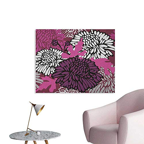 Anzhutwelve Dahlia Wallpaper Drawing of Large Chrysanthemum Blossoms and Buds in Shades of Purple Wall Poster Egg Plant Baby Pink White W32 xL24]()