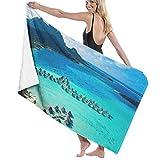 PENGTU Le Moana Resort Bora Bora Design Bath Towels for Bathroom Hotel Spa Kitchen Set 100% Polyester Fiber Highly Absorbent Hotel Quality Towels