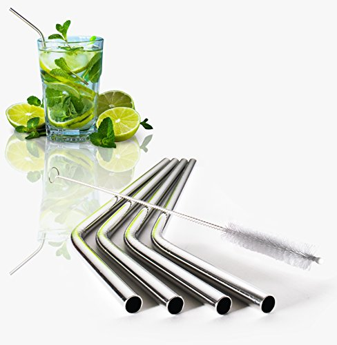 """Stainless Steel Straws 4 Pack + Free Cleaning Brush (8"""" x 6mm): Reusable Eco-Friendly Drinking Straws For Drinks & Bar Cocktails Fits 20oz Yeti Ozark RTIC Tumbler Rambler Cups, BPA-free & FDA Approved"""