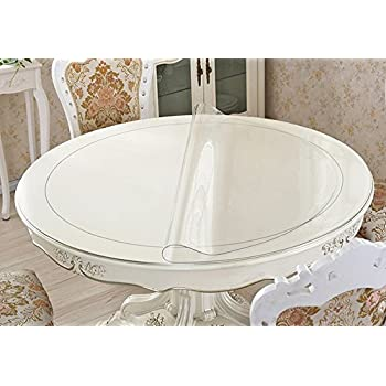 Eco Thicken Clear PVC Round Table Protector Cover Clear Plastic Round  Tablecloth Wipeable Waterproof Protective Furniture