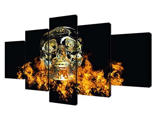 - Yatsen Bridge 5 piece Wall Art prints Gold skeletons Yellow fire burning Hallowmas Modern painting on Canvas Decor for living room Stretched and Framed (60x32 inch)