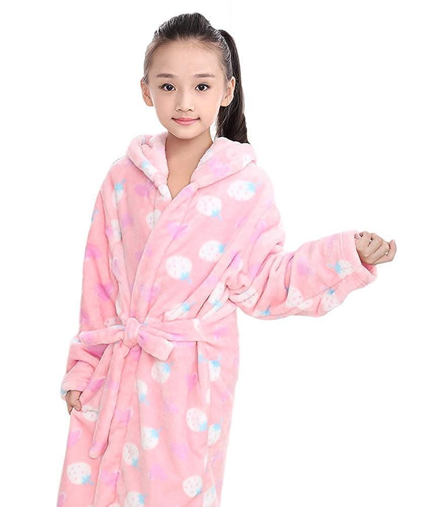Little Big Kids Girls Flannel Hooded Bath Robe Pajama