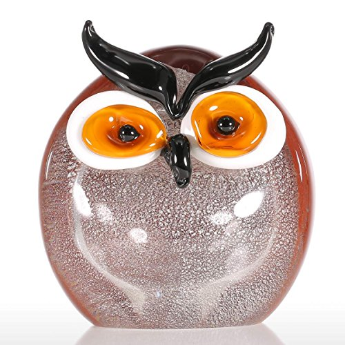 Tooarts Chubby Owl Handblown Glass Animal Figurine Ornament Tabletop Home Office - Chubby Glasses